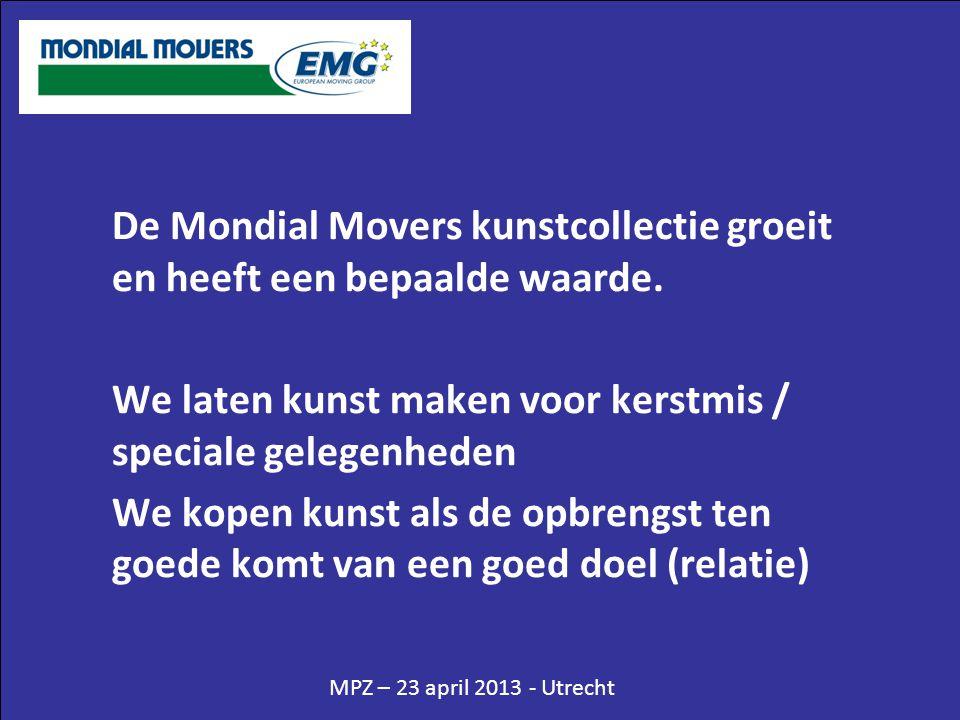 MPZ – 23 april 2013 - Utrecht De Mondial Movers kunstcollectie groeit en heeft een bepaalde waarde. We laten kunst maken voor kerstmis / speciale gele