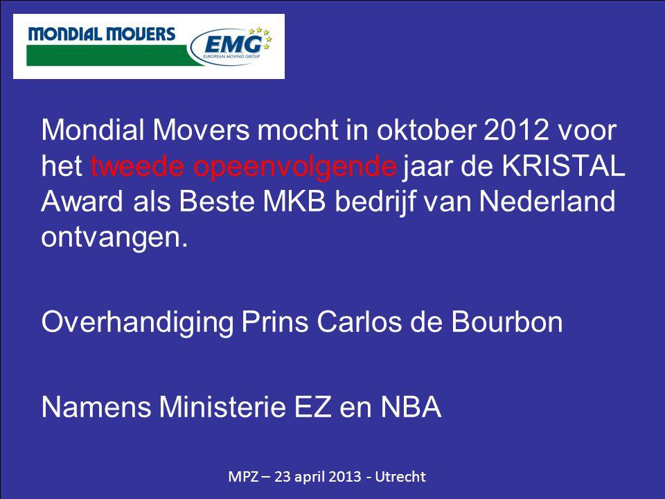 MPZ – 23 april 2013 - Utrecht Mondial Movers mocht in oktober 2012 voor het tweede opeenvolgende jaar de KRISTAL Award als Beste MKB bedrijf van Neder