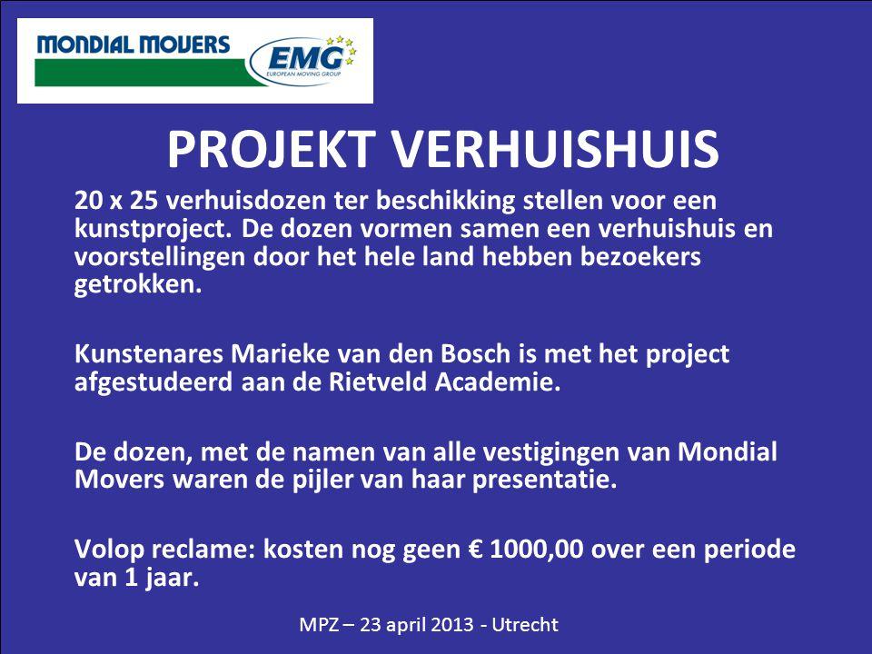 MPZ – 23 april 2013 - Utrecht PROJEKT VERHUISHUIS 20 x 25 verhuisdozen ter beschikking stellen voor een kunstproject. De dozen vormen samen een verhui