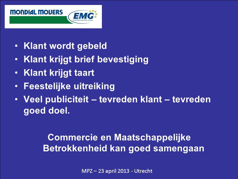 MPZ – 23 april 2013 - Utrecht •Klant wordt gebeld •Klant krijgt brief bevestiging •Klant krijgt taart •Feestelijke uitreiking •Veel publiciteit – tevr