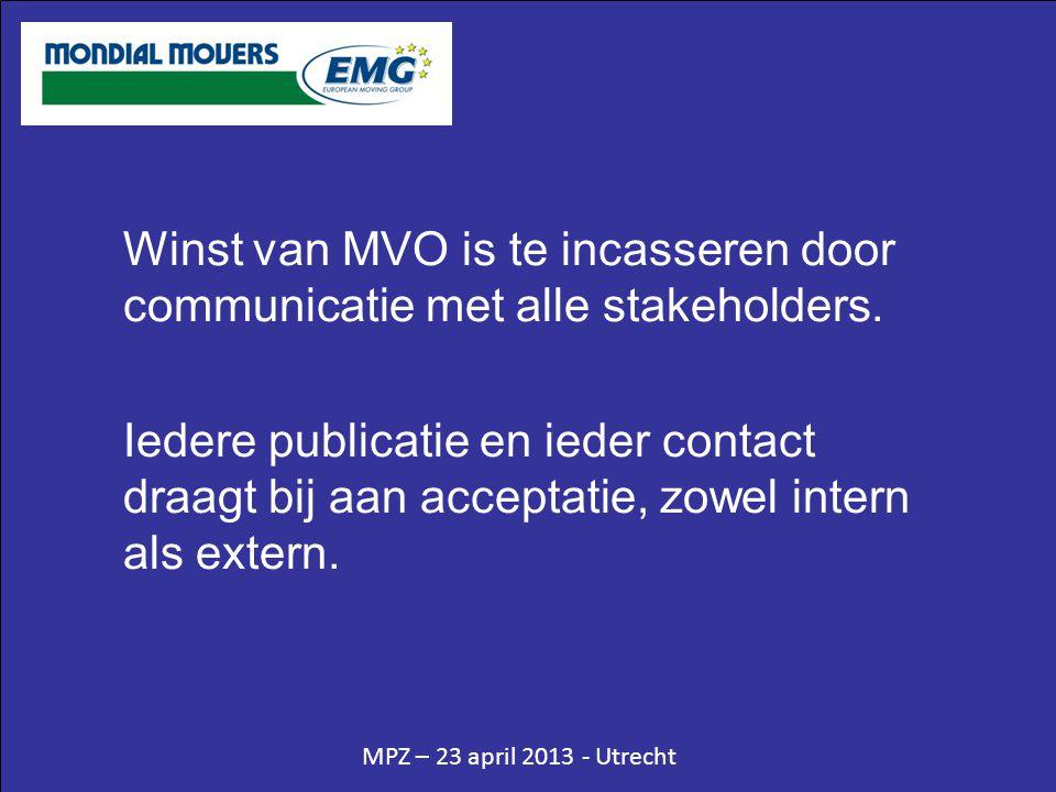MPZ – 23 april 2013 - Utrecht Winst van MVO is te incasseren door communicatie met alle stakeholders. Iedere publicatie en ieder contact draagt bij aa