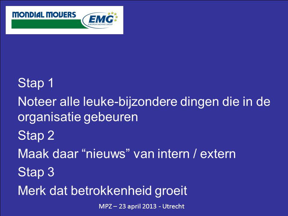 MPZ – 23 april 2013 - Utrecht Stap 1 Noteer alle leuke-bijzondere dingen die in de organisatie gebeuren Stap 2 Maak daar nieuws van intern / extern Stap 3 Merk dat betrokkenheid groeit