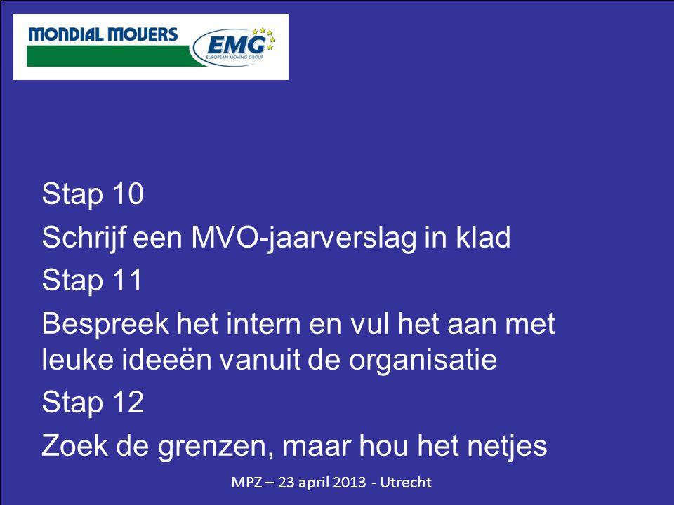 MPZ – 23 april 2013 - Utrecht Stap 10 Schrijf een MVO-jaarverslag in klad Stap 11 Bespreek het intern en vul het aan met leuke ideeën vanuit de organisatie Stap 12 Zoek de grenzen, maar hou het netjes