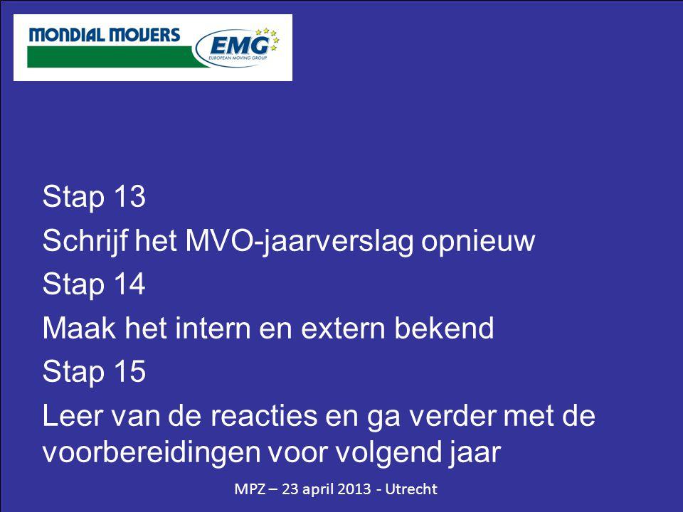 MPZ – 23 april 2013 - Utrecht Stap 13 Schrijf het MVO-jaarverslag opnieuw Stap 14 Maak het intern en extern bekend Stap 15 Leer van de reacties en ga verder met de voorbereidingen voor volgend jaar