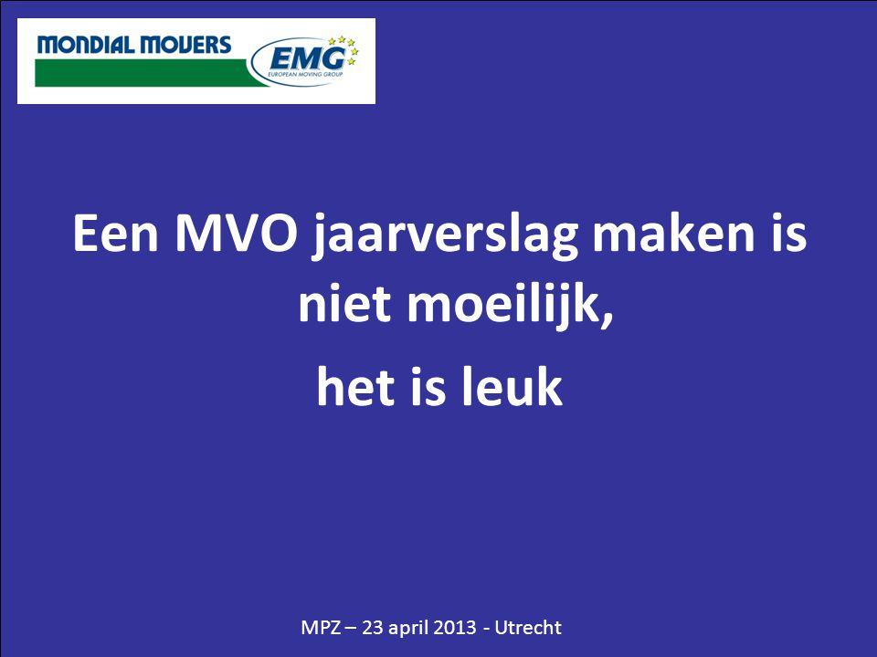MPZ – 23 april 2013 - Utrecht Een MVO jaarverslag maken is niet moeilijk, het is leuk