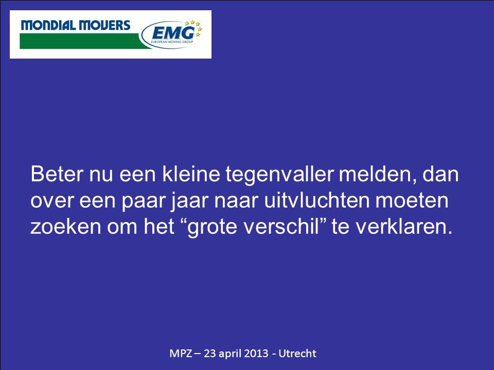 MPZ – 23 april 2013 - Utrecht Beter nu een kleine tegenvaller melden, dan over een paar jaar naar uitvluchten moeten zoeken om het grote verschil te verklaren.
