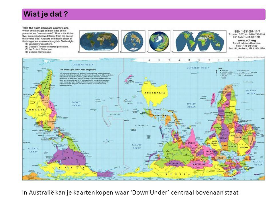 Wist je dat ? In Australië kan je kaarten kopen waar 'Down Under' centraal bovenaan staat