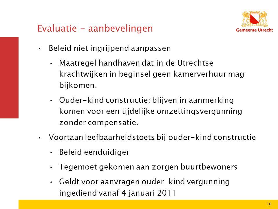 10 Evaluatie - aanbevelingen •Beleid niet ingrijpend aanpassen •Maatregel handhaven dat in de Utrechtse krachtwijken in beginsel geen kamerverhuur mag