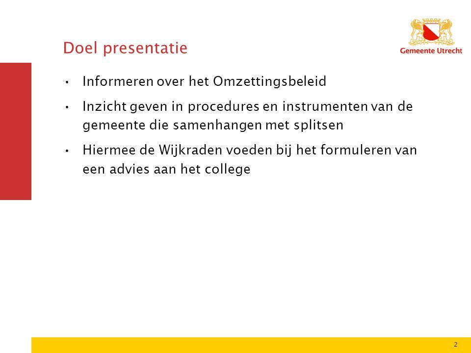 2 Doel presentatie •Informeren over het Omzettingsbeleid •Inzicht geven in procedures en instrumenten van de gemeente die samenhangen met splitsen •Hi