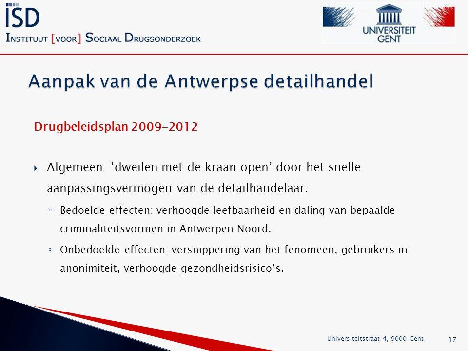 Drugbeleidsplan 2009-2012  Algemeen: 'dweilen met de kraan open' door het snelle aanpassingsvermogen van de detailhandelaar.