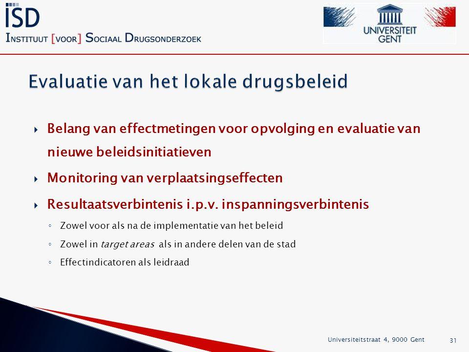  Belang van effectmetingen voor opvolging en evaluatie van nieuwe beleidsinitiatieven  Monitoring van verplaatsingseffecten  Resultaatsverbintenis i.p.v.
