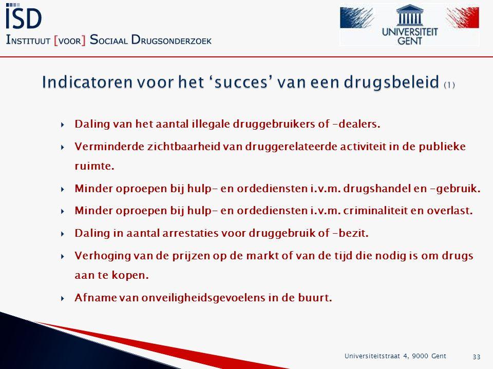  Daling van het aantal illegale druggebruikers of –dealers.