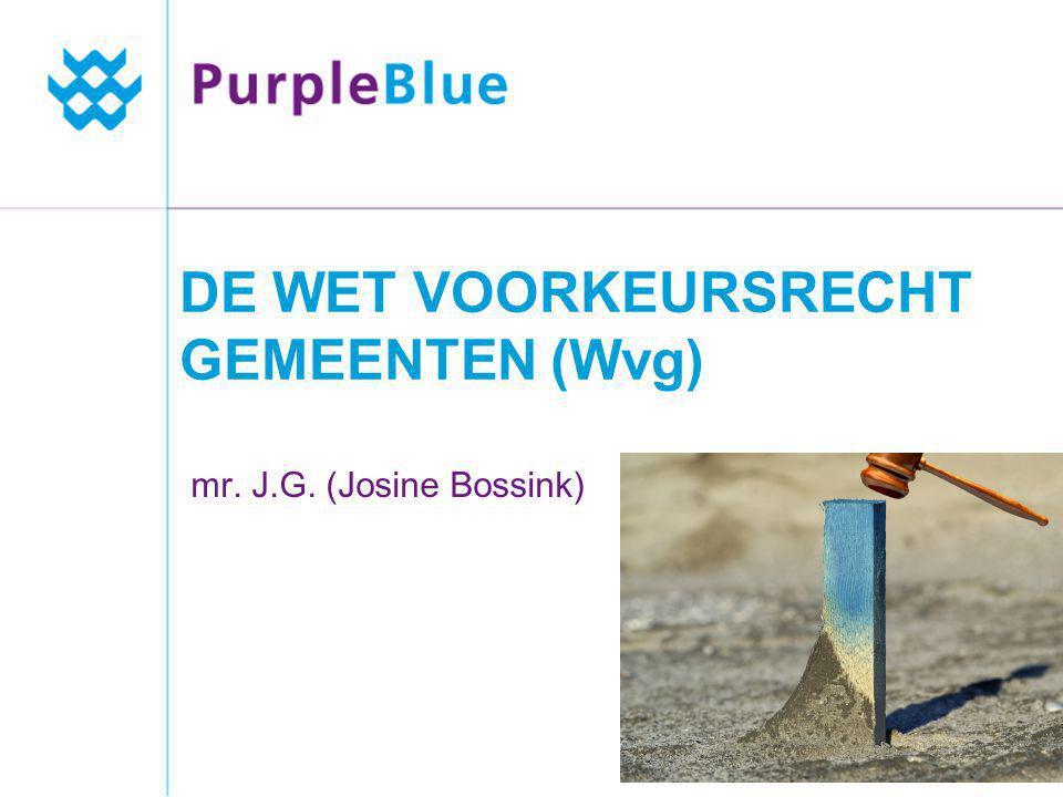 DE WET VOORKEURSRECHT GEMEENTEN (Wvg) mr. J.G. (Josine Bossink)