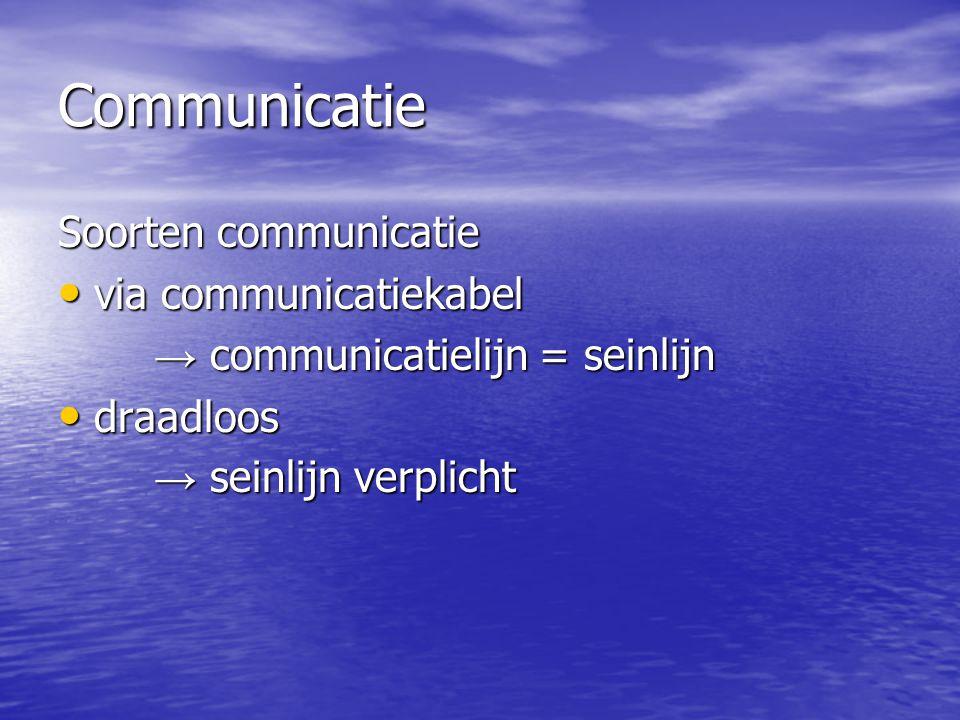 Communicatie Soorten communicatie • via communicatiekabel → communicatielijn = seinlijn • draadloos → seinlijn verplicht