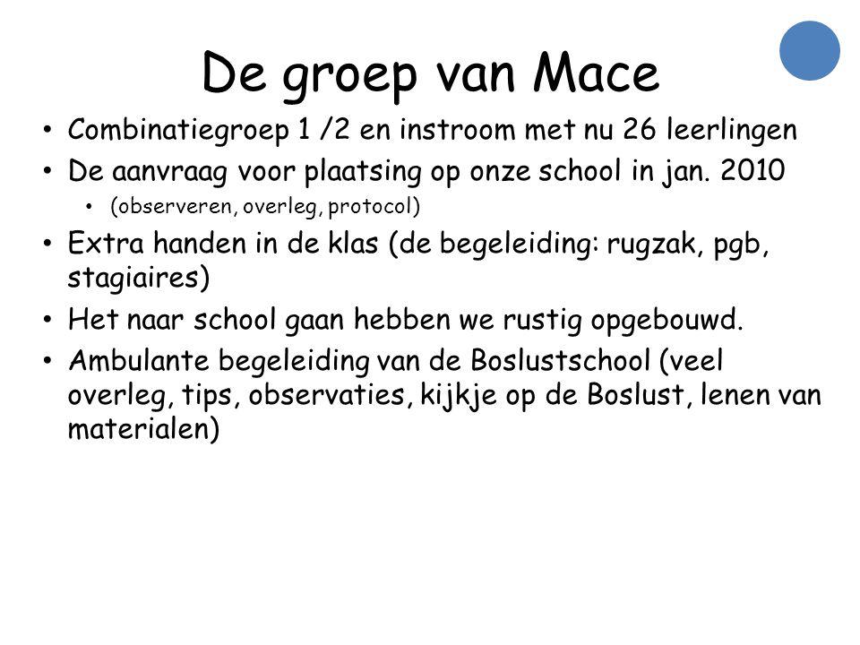 De groep van Mace • Combinatiegroep 1 /2 en instroom met nu 26 leerlingen • De aanvraag voor plaatsing op onze school in jan.