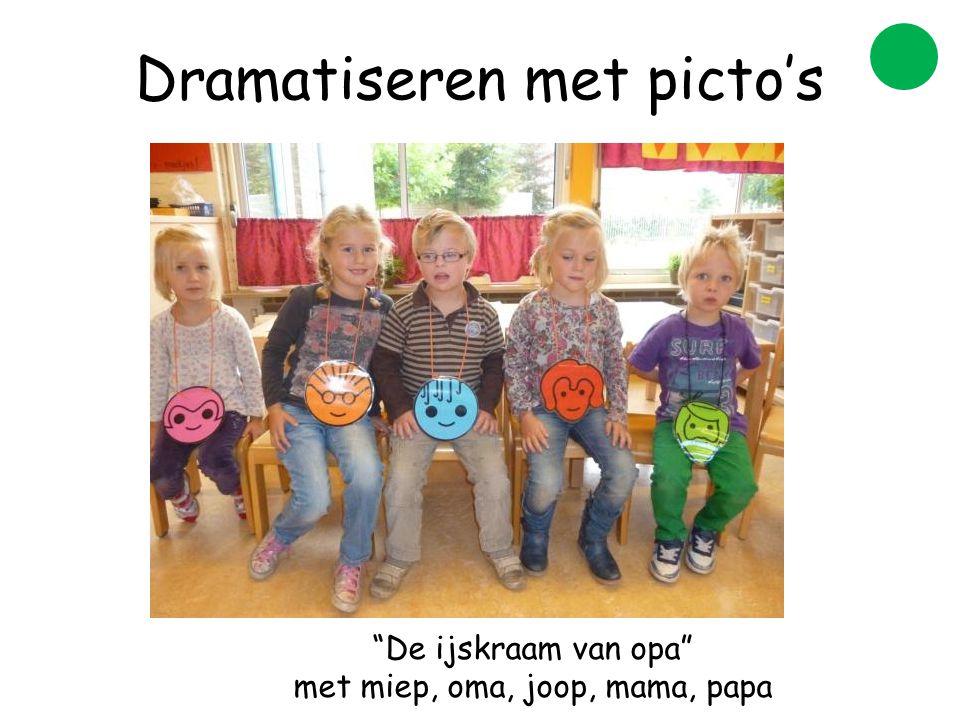 Dramatiseren met picto's De ijskraam van opa met miep, oma, joop, mama, papa