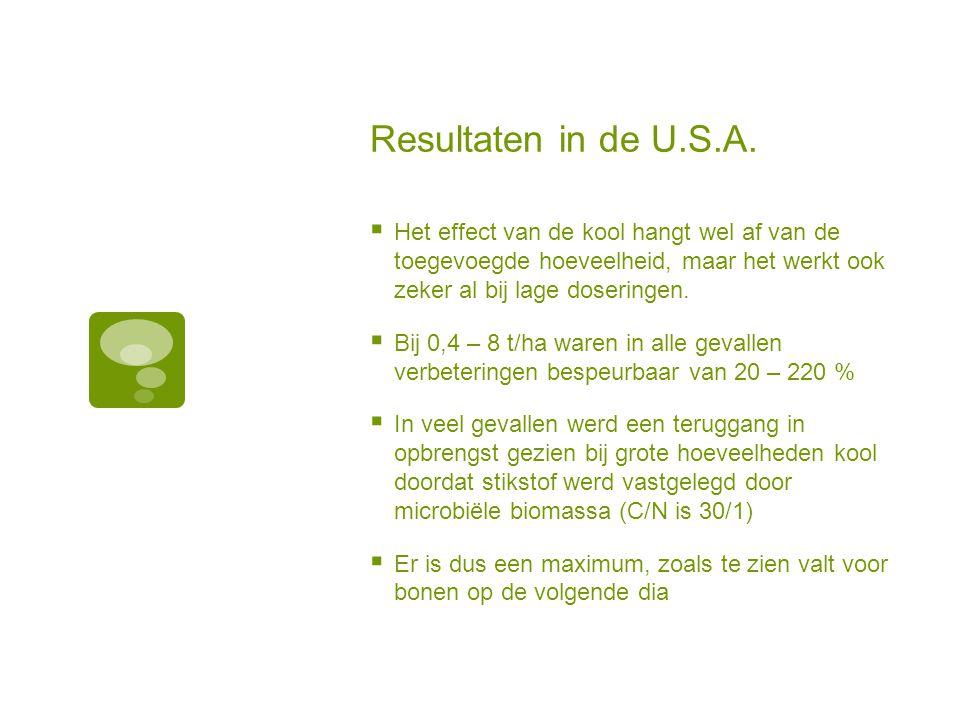 Effect van kool op de opbrengst van bonen (onderzoek U.S.A.)