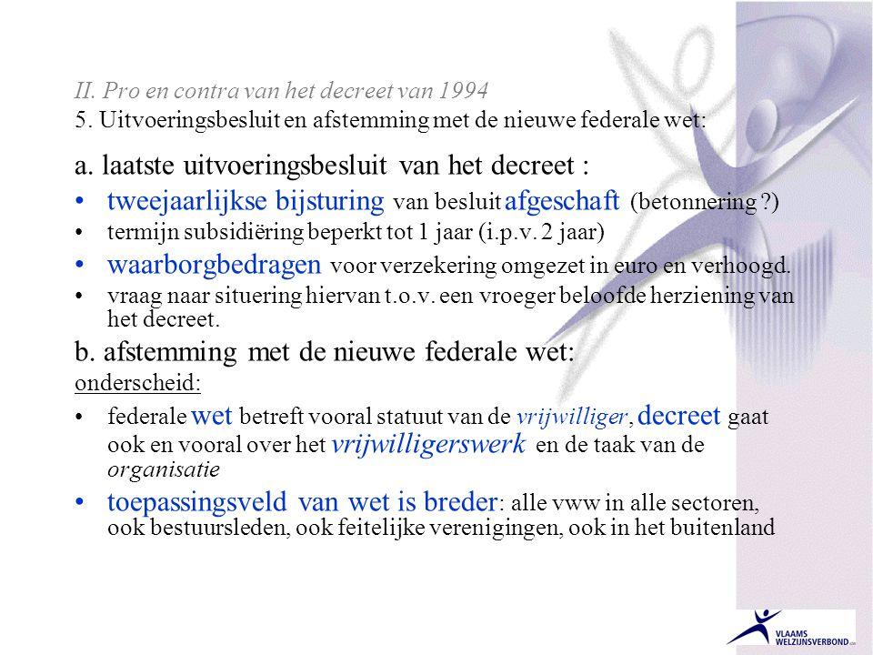 II.Pro en contra van het decreet van 1994 5.