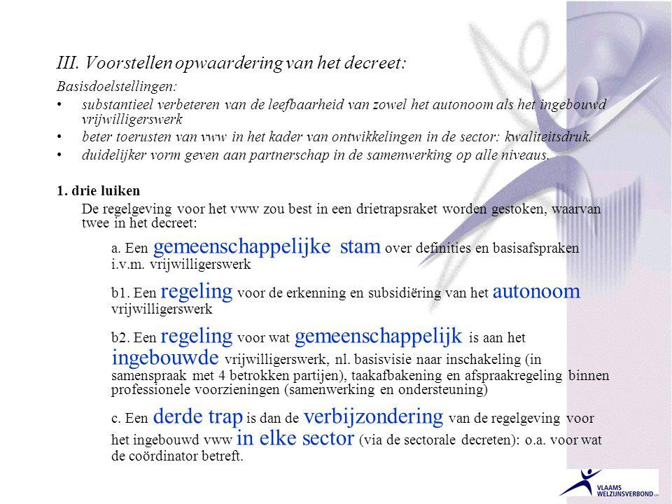 III. Voorstellen opwaardering van het decreet: Basisdoelstellingen: •substantieel verbeteren van de leefbaarheid van zowel het autonoom als het ingebo