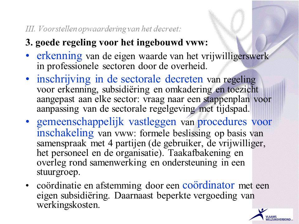III. Voorstellen opwaardering van het decreet: 3. goede regeling voor het ingebouwd vww: •erkenning van de eigen waarde van het vrijwilligerswerk in p