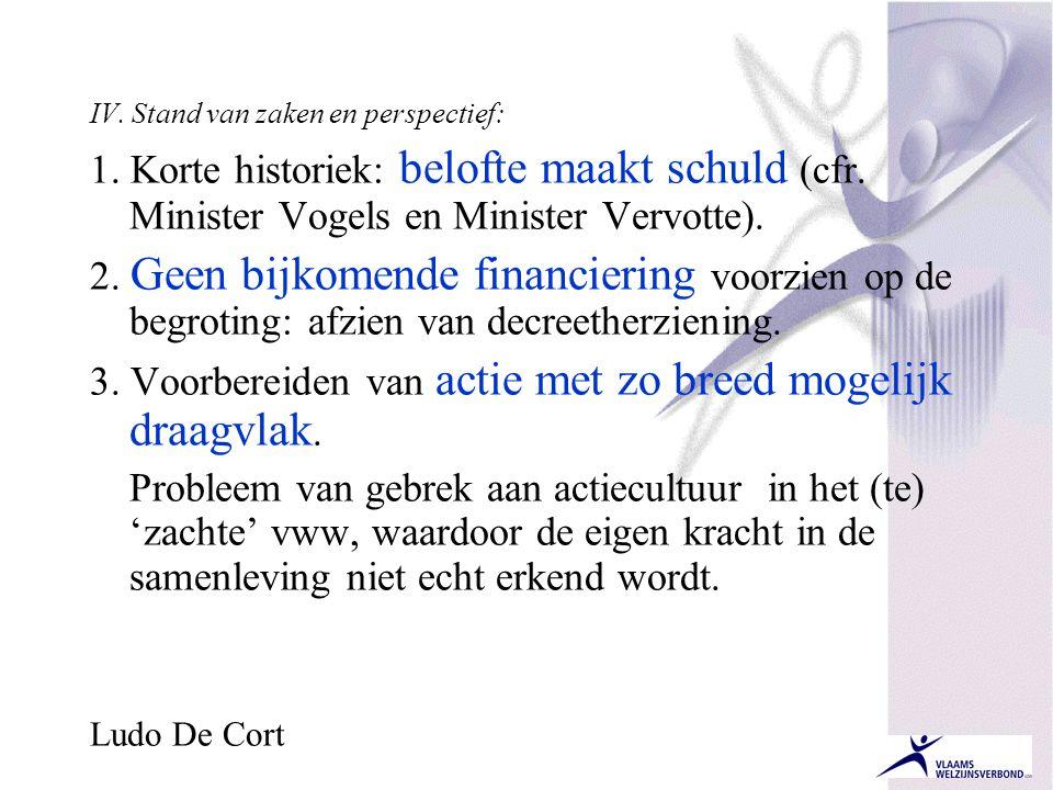 IV. Stand van zaken en perspectief: 1. Korte historiek: belofte maakt schuld (cfr. Minister Vogels en Minister Vervotte). 2. Geen bijkomende financier