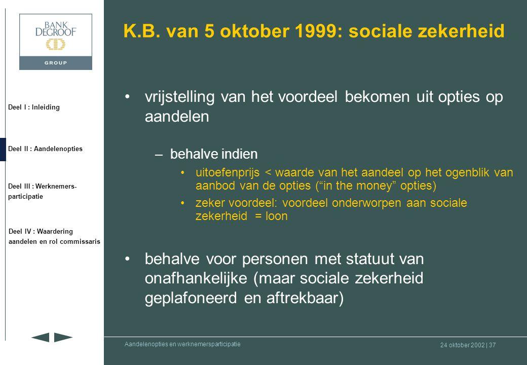 24 oktober 2002 | 36 Deel I : Inleiding Deel II : Aandelenopties Deel III : Werknemers- participatie Deel IV : Waardering aandelen en rol commissaris Aandelenopties en werknemersparticipatie Geplande wetswijziging •Sociaal-economische prioriteitennota 2002-2003 (punt 14) –Keuze aan begunstigde tussen belastbaar tijdstip op moment van •toekenning van opties •uitoefening van opties –Deze keuze moet vooraf gemaakt worden •Wetsontwerp in de maak door Minister Reynders –Looptijd bestaande opties automatisch verlengen met [2] jaar –Wetsontwerp wordt binnenkort ingediend bij Ministerraad –Ministerraad beslist over duur van de verlenging •Geen duidelijkheid over al dan niet goedkeuring en timing van eventuele wetswijziging