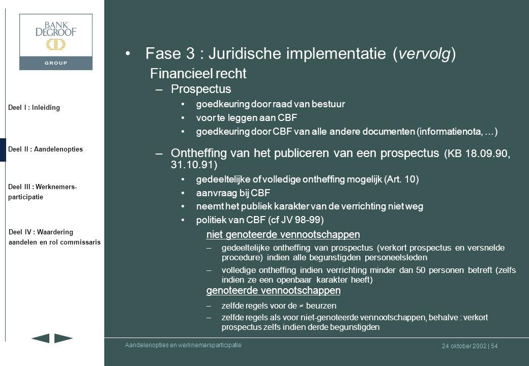 24 oktober 2002 | 53 Deel I : Inleiding Deel II : Aandelenopties Deel III : Werknemers- participatie Deel IV : Waardering aandelen en rol commissaris Aandelenopties en werknemersparticipatie •Fase 3 : Juridische implementatie (vervolg) Financieel recht –Openbaar beroep op het spaarwezen •openbaar aanbod tot verkoop van aandelen, effecten, winstbewijzen of obligaties •mededeling aan CBF (1 maand voor de verrichting) –Publiek karakter van een verrichting •publiciteit •beroep op of tussenkomst van een bemiddelaar •meer dan 50 personen –Notie van onderneming die publiek beroep doet op het spaarwezen •uitzondering voorzien door KB van 7 juli 1999