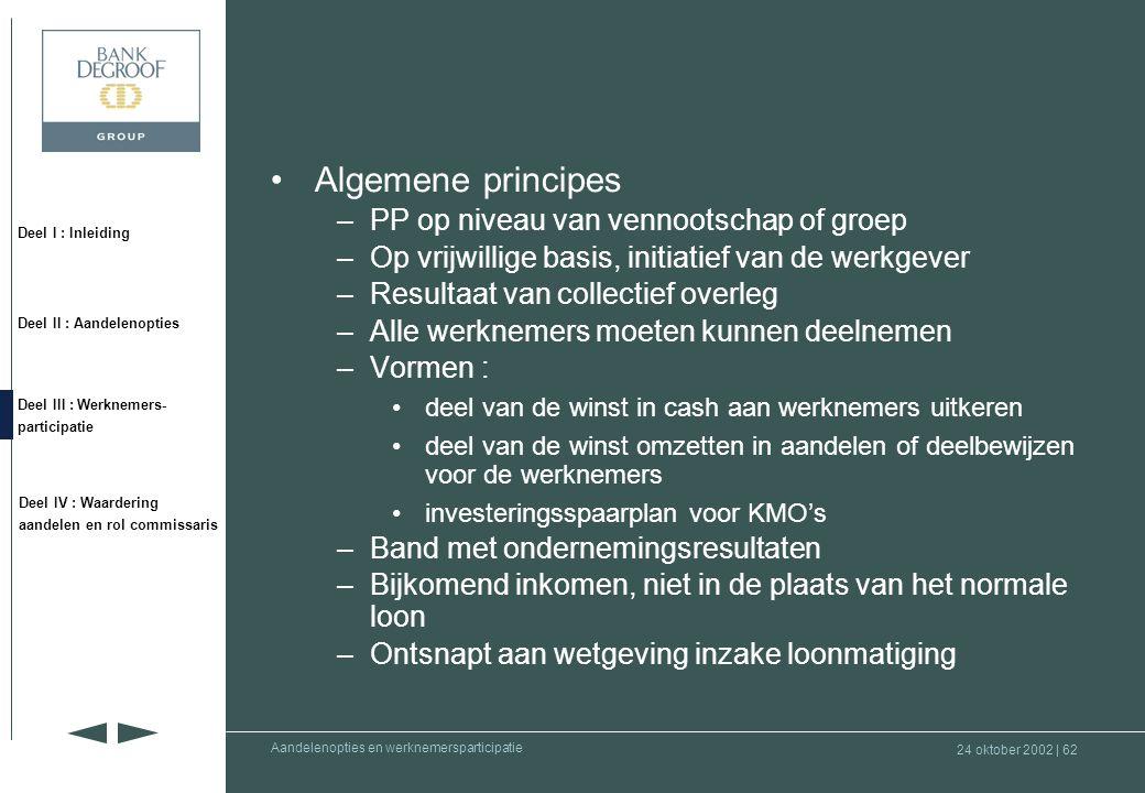 24 oktober 2002 | 61 Deel I : Inleiding Deel II : Aandelenopties Deel III : Werknemers- participatie Deel IV : Waardering aandelen en rol commissaris Aandelenopties en werknemersparticipatie Wet werknemersparticipatie in het kapitaal en winst (Wet van 22 mei 2001) •Wetgeving bevat regels inzake : –personenbelasting –sociale zekerheid –arbeidsrecht •Verplichte invoering door een participatieplan ( PP )