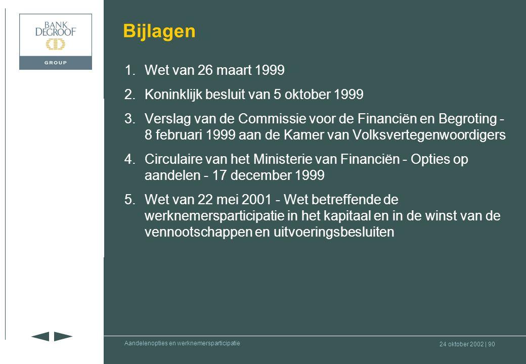 24 oktober 2002 | 89 Deel I : Inleiding Deel II : Aandelenopties Deel III : Werknemers- participatie Deel IV : Waardering aandelen en rol commissaris Aandelenopties en werknemersparticipatie •Besluit •Question-time