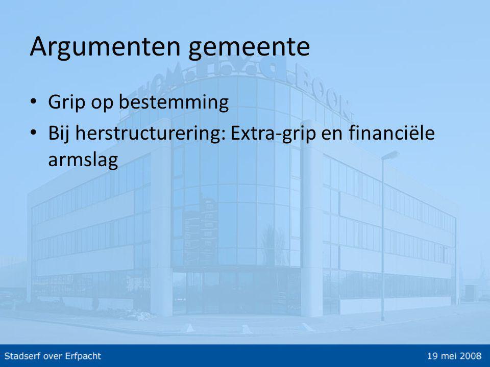 Argumenten gemeente • Grip op bestemming • Bij herstructurering: Extra-grip en financiële armslag