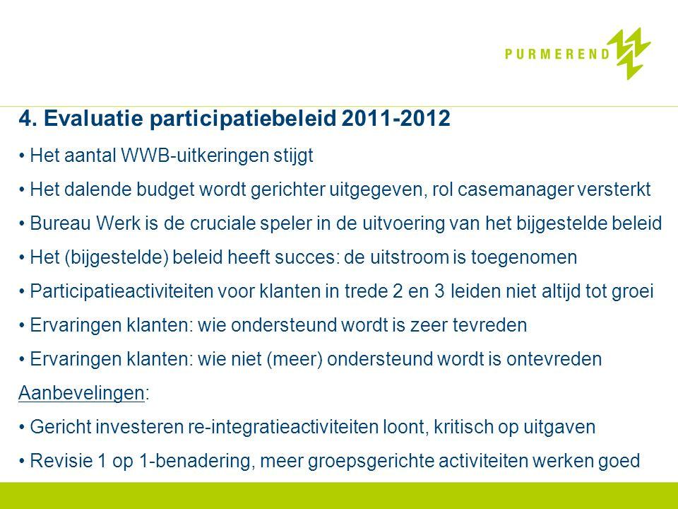 4. Evaluatie participatiebeleid 2011-2012 • Het aantal WWB-uitkeringen stijgt • Het dalende budget wordt gerichter uitgegeven, rol casemanager verster