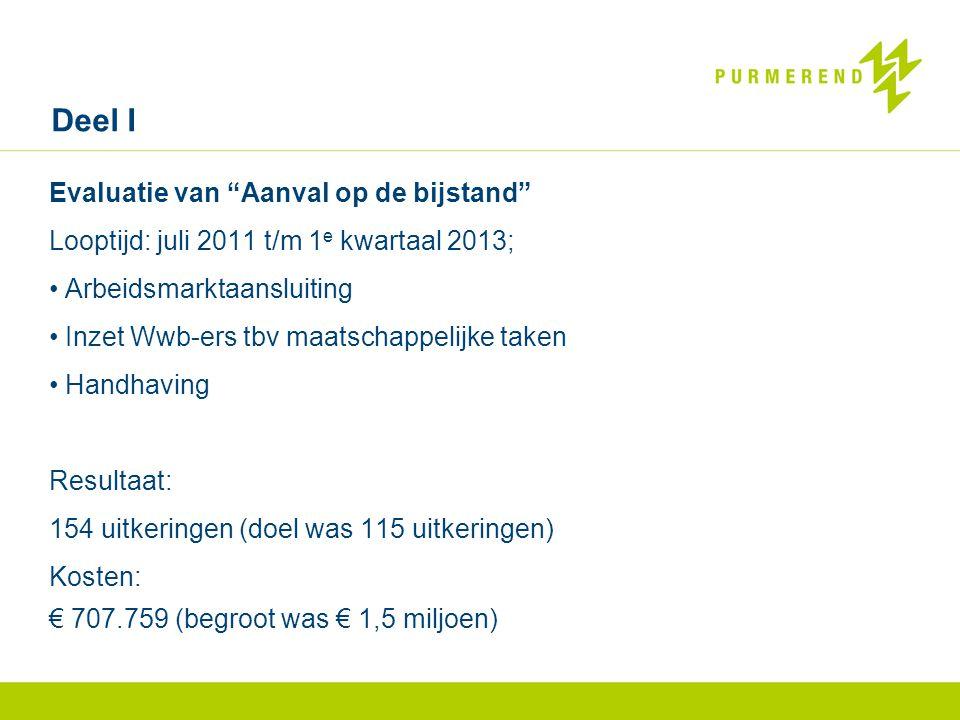 Evaluatie van Aanval op de bijstand Looptijd: juli 2011 t/m 1 e kwartaal 2013; • Arbeidsmarktaansluiting • Inzet Wwb-ers tbv maatschappelijke taken • Handhaving Resultaat: 154 uitkeringen (doel was 115 uitkeringen) Kosten: € 707.759 (begroot was € 1,5 miljoen) Deel I