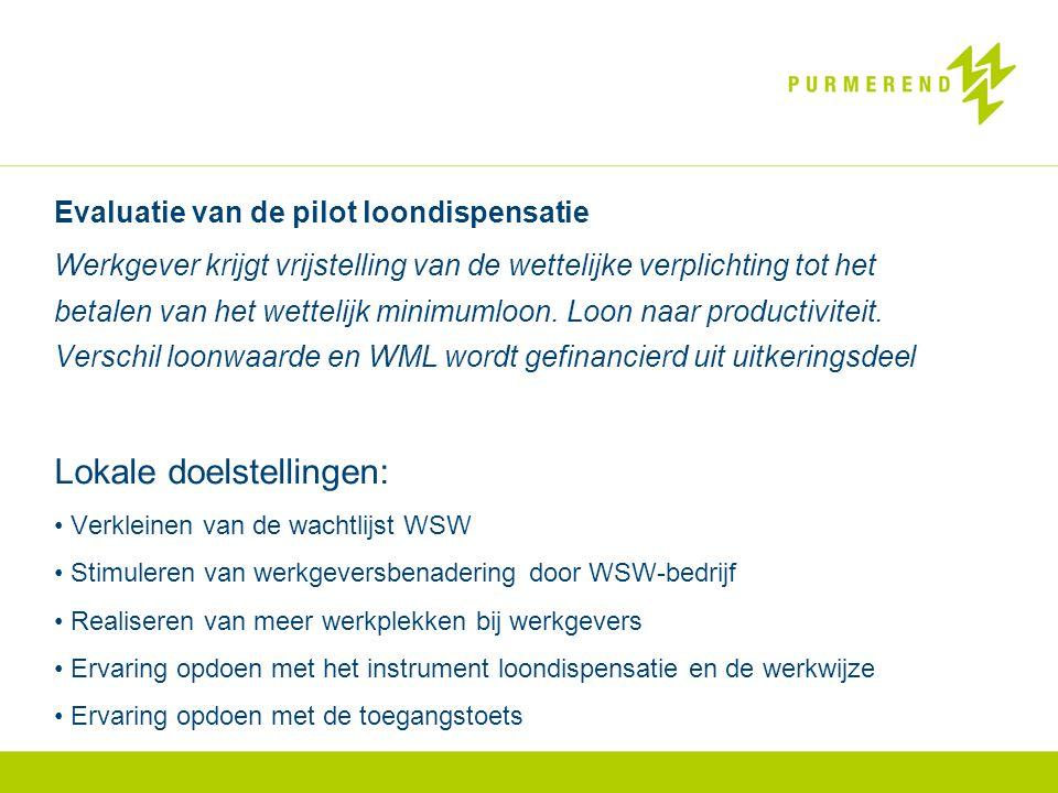 Evaluatie van de pilot loondispensatie Werkgever krijgt vrijstelling van de wettelijke verplichting tot het betalen van het wettelijk minimumloon.