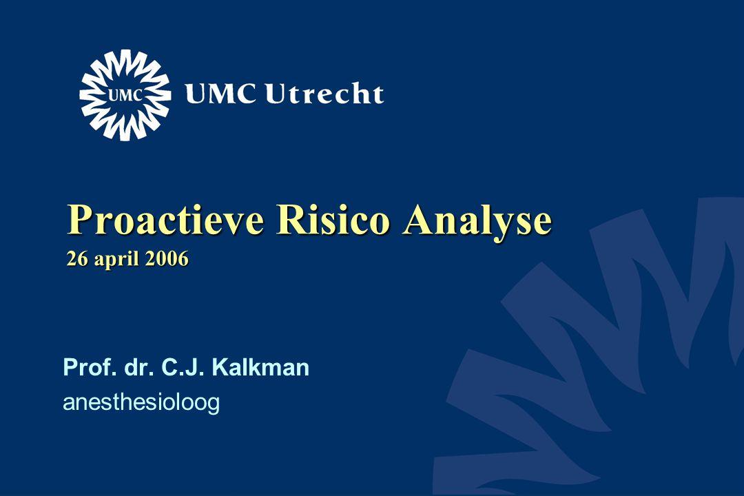Proactieve Risico Analyse 26 april 2006 Prof. dr. C.J. Kalkman anesthesioloog