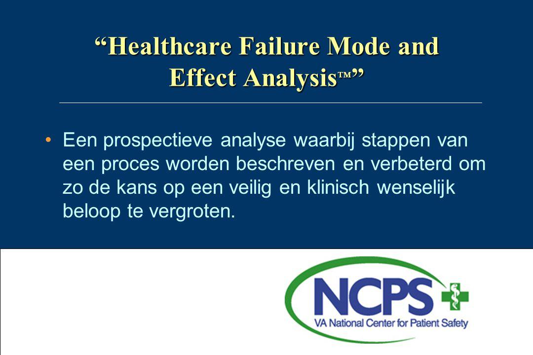 """""""Healthcare Failure Mode and Effect Analysis ™ """" •Een prospectieve analyse waarbij stappen van een proces worden beschreven en verbeterd om zo de kans"""