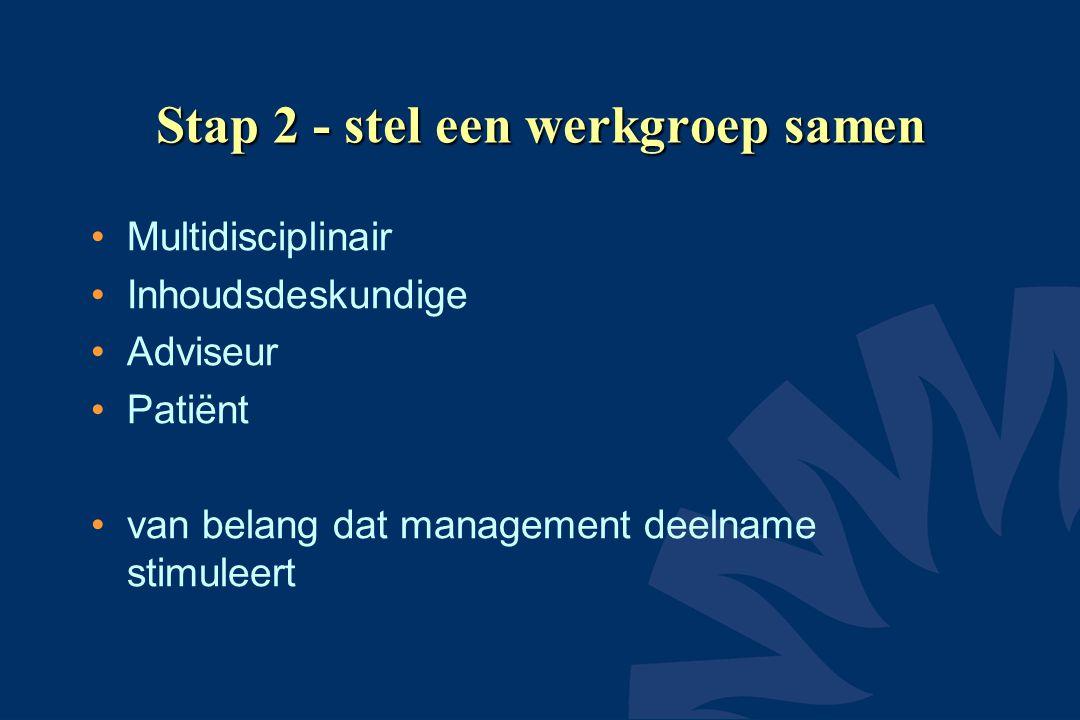 Stap 2 - stel een werkgroep samen •Multidisciplinair •Inhoudsdeskundige •Adviseur •Patiënt •van belang dat management deelname stimuleert