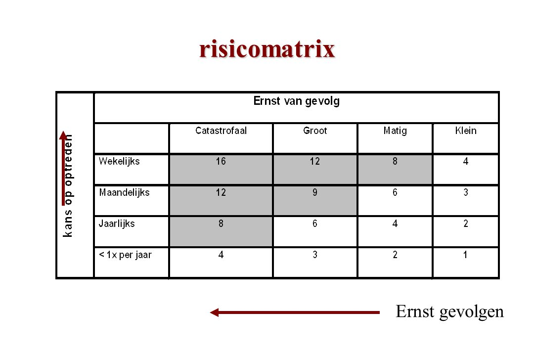 risicomatrix Ernst gevolgen