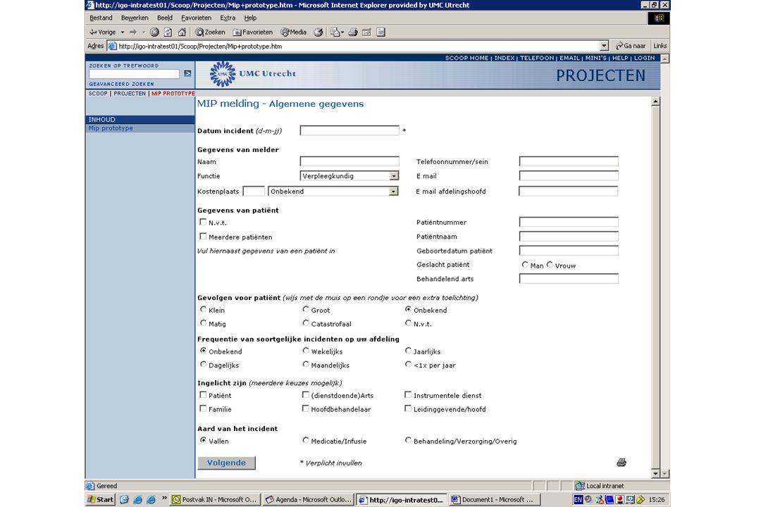 VMS - Analyse van incidenten •Systematische Incident Reconstructie en Evaluatie (SIRE) •30 mensen getraind •opdracht via MIP of via divisie •± 12 SIRE's per jaar