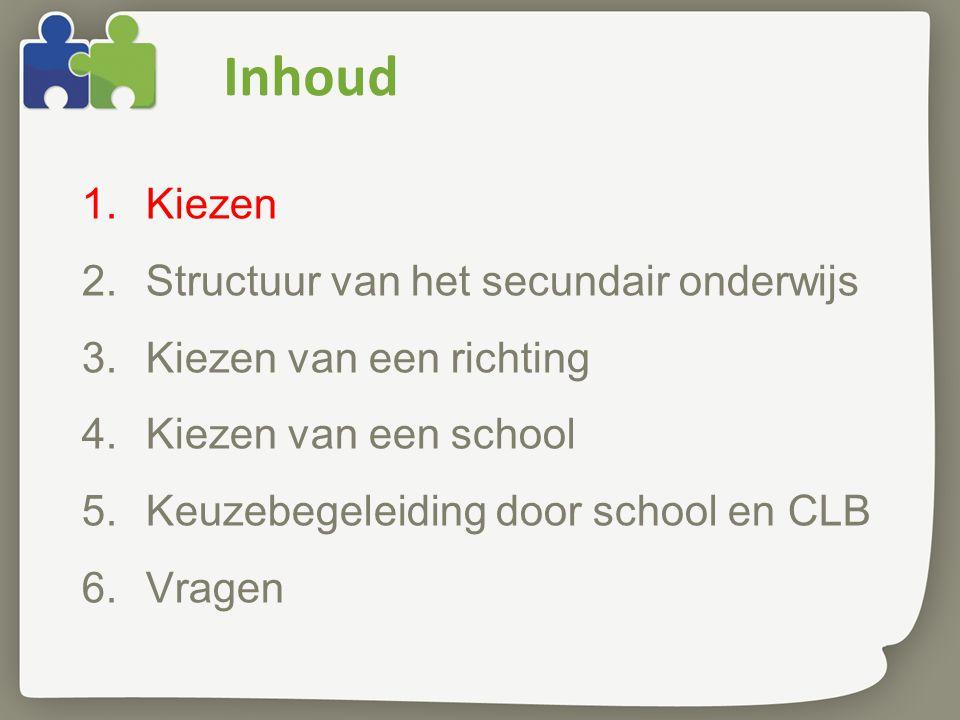 Inhoud 1.Kiezen 2.Structuur van het secundair onderwijs 3.Kiezen van een richting 4.Kiezen van een school 5.Keuzebegeleiding door school en CLB 6.Vragen