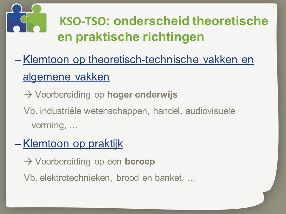KSO-TSO : onderscheid theoretische en praktische richtingen –Klemtoon op theoretisch-technische vakken en algemene vakken  Voorbereiding op hoger ond