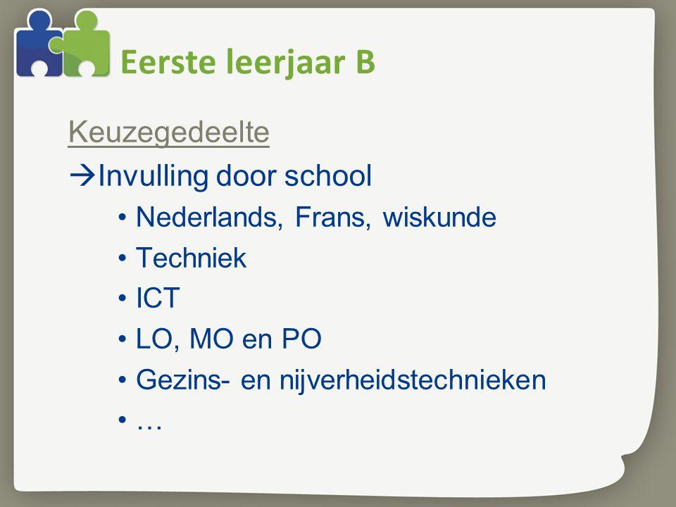 Eerste leerjaar B Keuzegedeelte  Invulling door school •Nederlands, Frans, wiskunde •Techniek •ICT •LO, MO en PO •Gezins- en nijverheidstechnieken •…