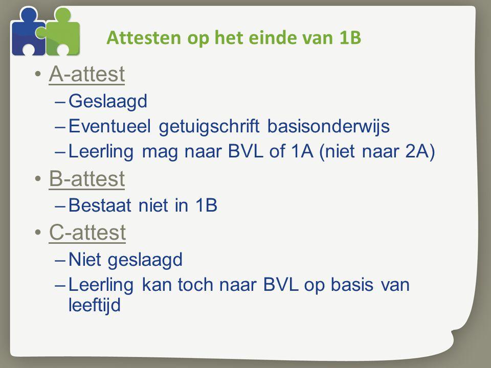 Attesten op het einde van 1B •A-attest –Geslaagd –Eventueel getuigschrift basisonderwijs –Leerling mag naar BVL of 1A (niet naar 2A) •B-attest –Bestaa