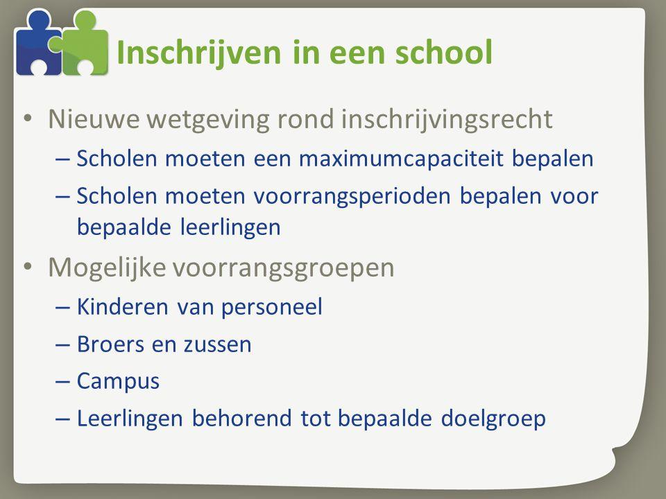 Inschrijven in een school • Nieuwe wetgeving rond inschrijvingsrecht – Scholen moeten een maximumcapaciteit bepalen – Scholen moeten voorrangsperioden