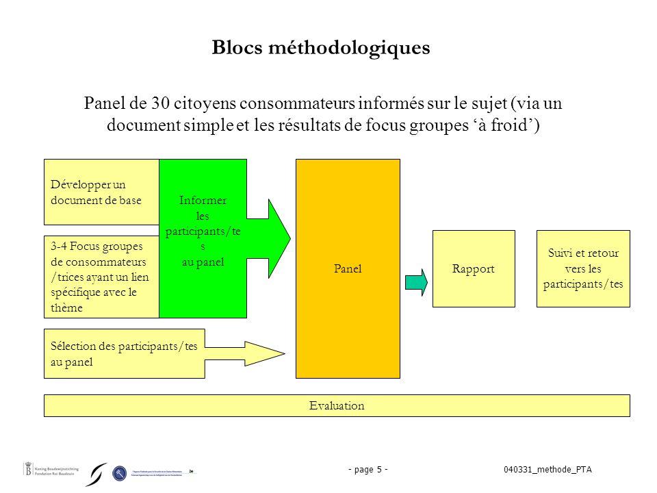 040331_methode_PTA- page 6 - Document d'information  Développer un document d'information simple, explicitant la thématique choisie et les questions qu'elle génère pour les consommateurs/trices qui vont dialoguer.