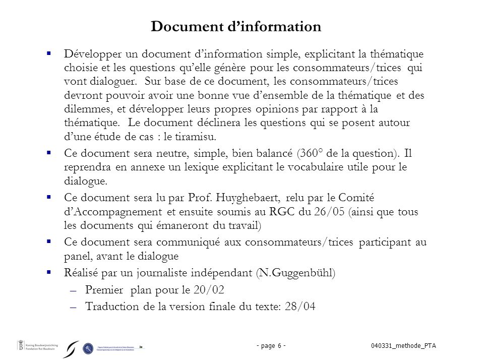 040331_methode_PTA- page 6 - Document d'information  Développer un document d'information simple, explicitant la thématique choisie et les questions qu'elle génère pour les consommateurs/trices qui vont dialoguer.