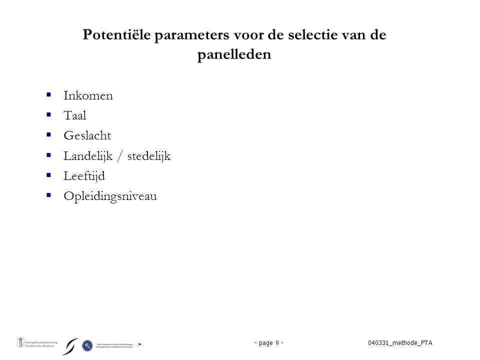 040331_methode_PTA- page 9 - Potentiële parameters voor de selectie van de panelleden  Inkomen  Taal  Geslacht  Landelijk / stedelijk  Leeftijd  Opleidingsniveau