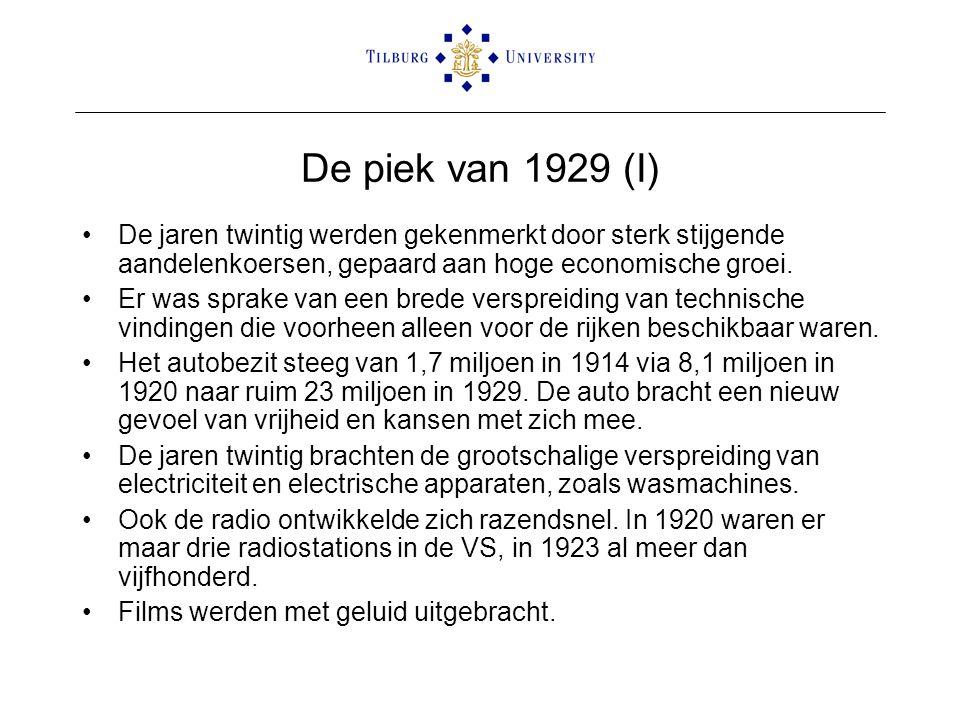 De piek van 1929 (I) •De jaren twintig werden gekenmerkt door sterk stijgende aandelenkoersen, gepaard aan hoge economische groei. •Er was sprake van