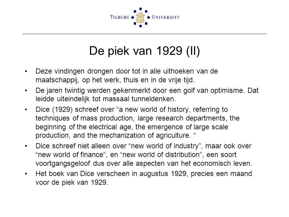 De piek van 1929 (II) •Deze vindingen drongen door tot in alle uithoeken van de maatschappij, op het werk, thuis en in de vrije tijd. •De jaren twinti