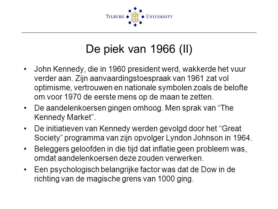 De piek van 1966 (II) •John Kennedy, die in 1960 president werd, wakkerde het vuur verder aan. Zijn aanvaardingstoespraak van 1961 zat vol optimisme,
