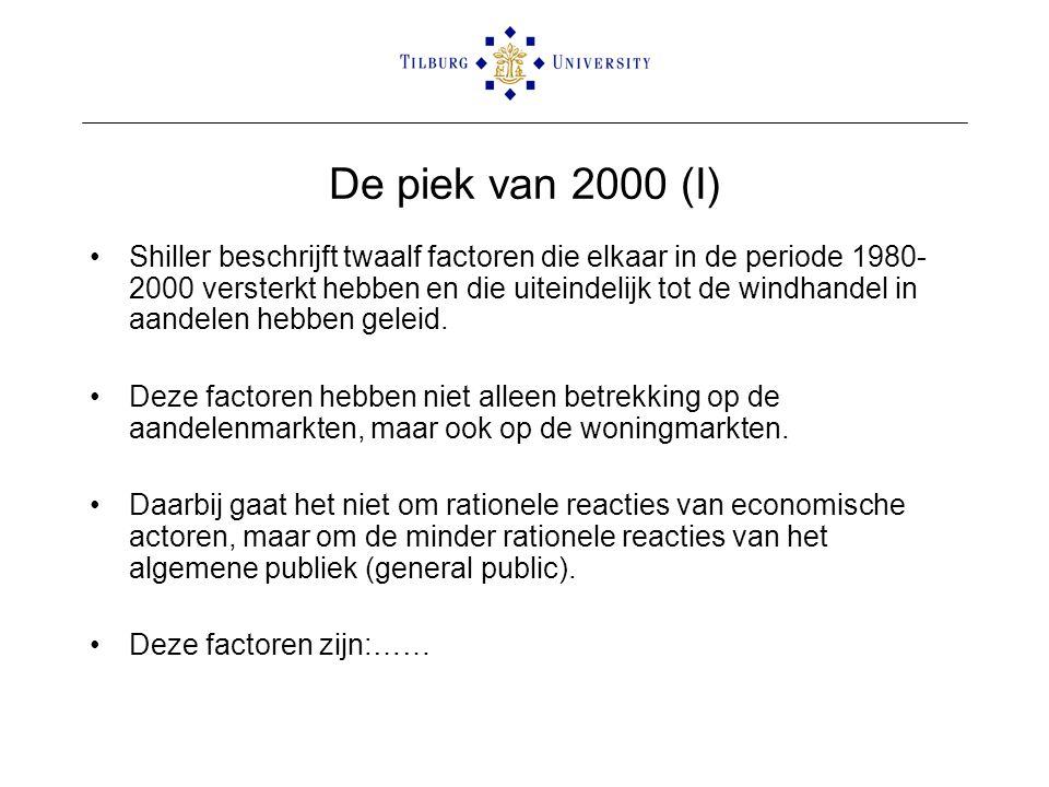 De piek van 2000 (I) •Shiller beschrijft twaalf factoren die elkaar in de periode 1980- 2000 versterkt hebben en die uiteindelijk tot de windhandel in